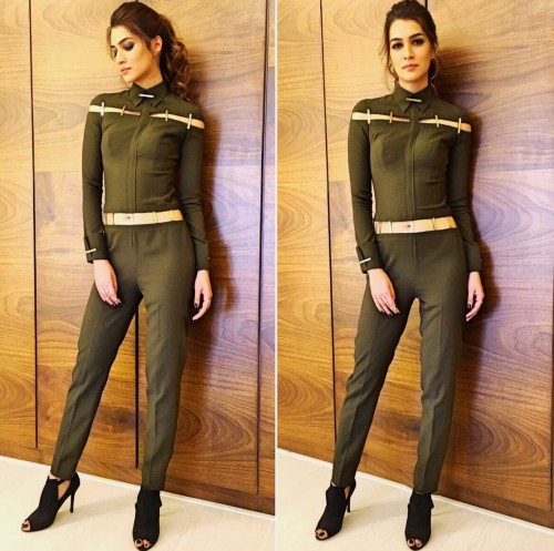 Looking fro this olive green jumpsuit that Kriti Sanon is wearing - SeenIt