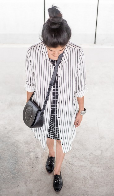 Want this striped shirt dress , checkered dress , black shoes and black sling bag - SeenIt