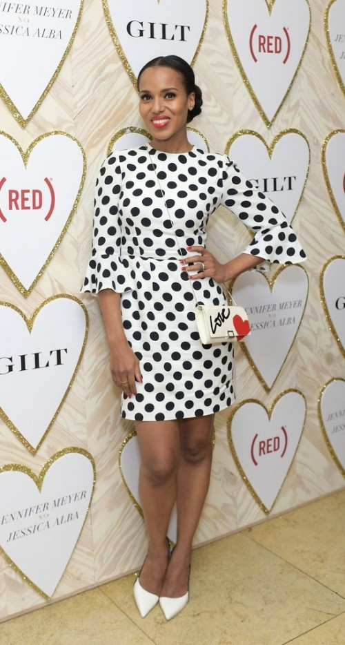 Yay or Nay? Kerry Washinton in with white with black polka-dots dress paired with a white stilettos - SeenIt