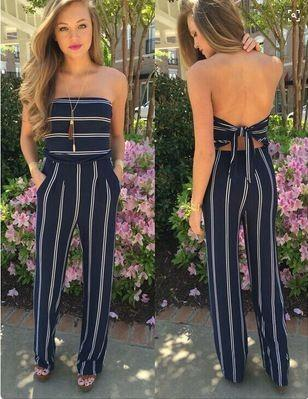 fb05aa718adb Find me this navy blue and white striped strapless jumpsuit from Indian  website please. -