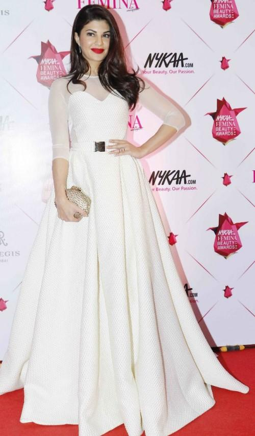 Yay or Nay? Jacqueline Fernandez wearing a white mesh neck ball gown at the Nykaa Femina Beauty Awards - SeenIt