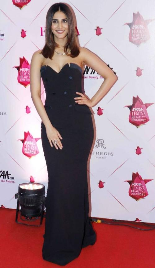Yay or Nay? Vaani Kapoor wearing a black off shoulder gown at the Nykaa Femina Beauty Awards - SeenIt