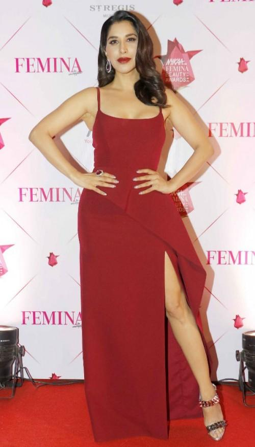 Yay or Nay? Sophie Chaudhry wearing a BCBG thigh high slit maroon gown at the Nykaa Femina Beauty Awards - SeenIt