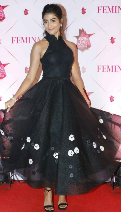 Yay or Nay? Pooja Hegde wearing a black dress by Dolly J at the Nykaa Femina Beauty Awards - SeenIt