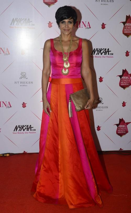 Yay or Nay? Mandira Bedi wearing a colorful pink and orange gown from her own label at the Nykaa Femina Beauty Awards - SeenIt