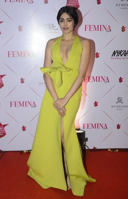 Yay or Nay? Adah Sharma wearing a lime green ruffled gown by Labe D at the Nykaa Femina Beauty Awards - SeenIt