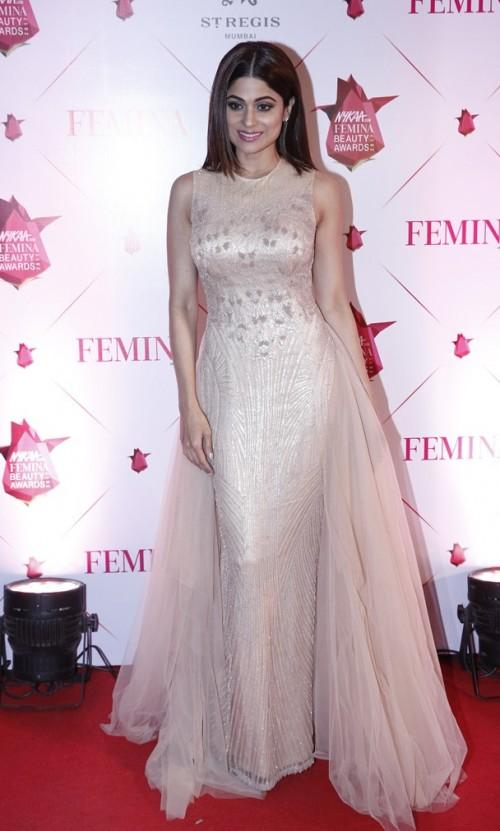 Yay or Nay? Shamita Shetty wearing a champagne gold gown by Shantanu & Nikhil at the Nykaa Femina Beauty Awards - SeenIt