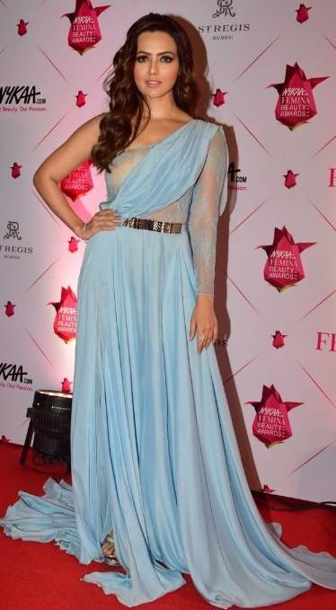 Yay or Nay? Sana khan wearing a pastel blue drape gown at the Nykaa Femina Beauty Awards - SeenIt