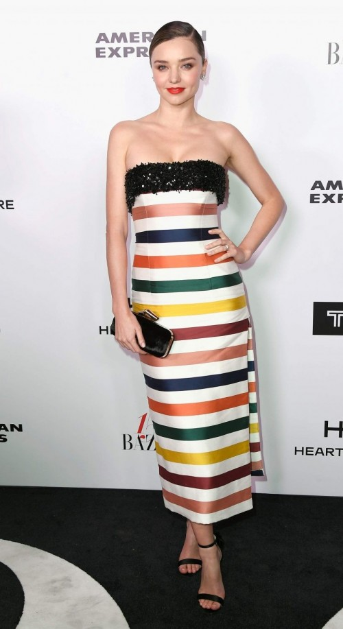 Yay or Nay? Miranda Kerr in this rainbow stripes off-shoulder dress with a slit - SeenIt