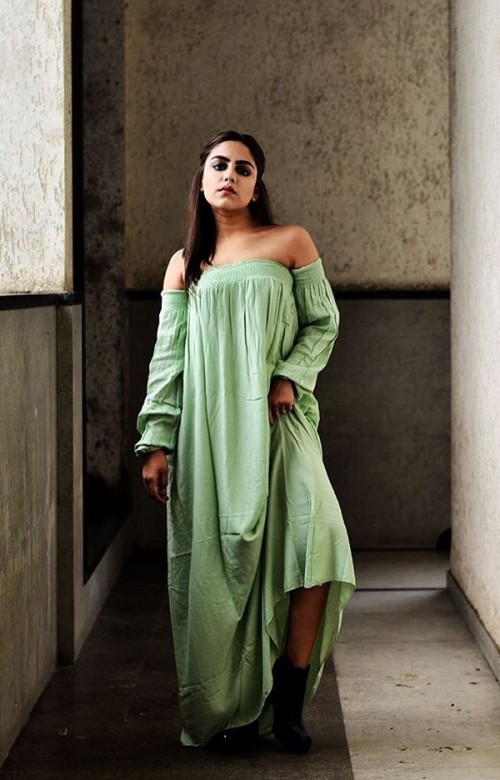 Yay or Nay? Need your view on this green off shoulder full sleeves maxi dress that Loveina Gwalani is wearing. - SeenIt