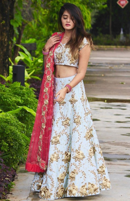 Yay or Nay? Shivani Patil looked pretty in this mint green and golden embellished lehenga with pink dupatta. - SeenIt