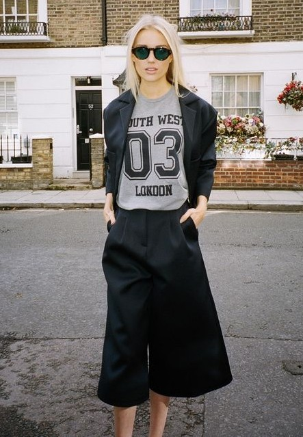 Want the culottes, blazer and any grey tshirt with number on it! - SeenIt