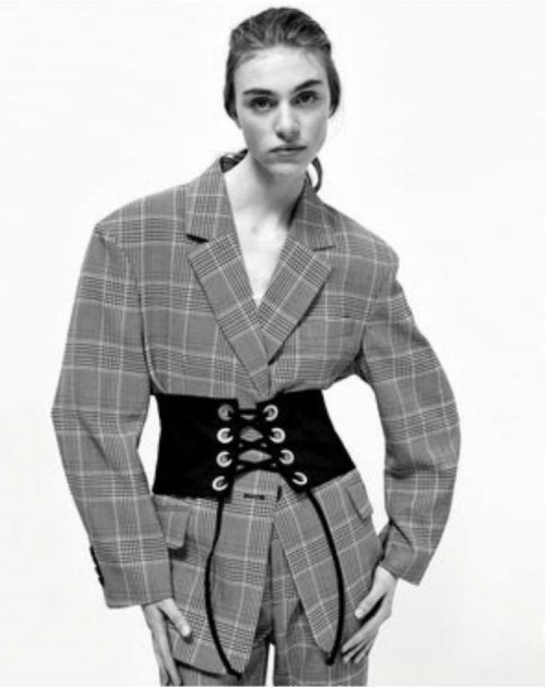 Want this checked coat and corset belt - SeenIt