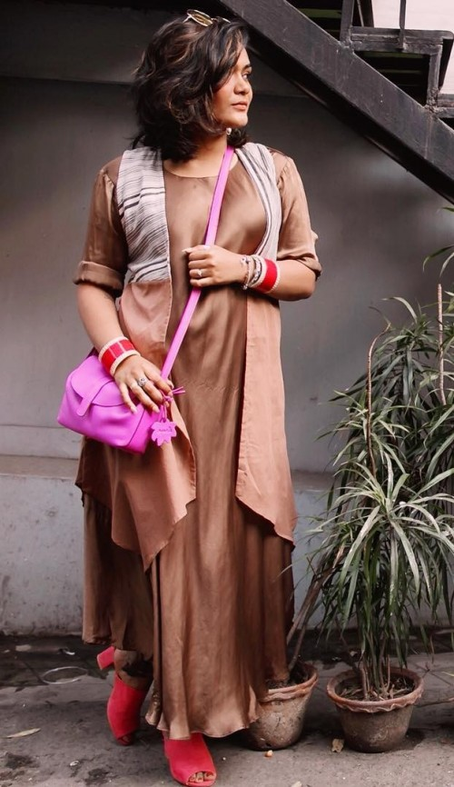 Yay or Nay? Riddhima Khanna in a brown sleek maxi dress with shrug. - SeenIt