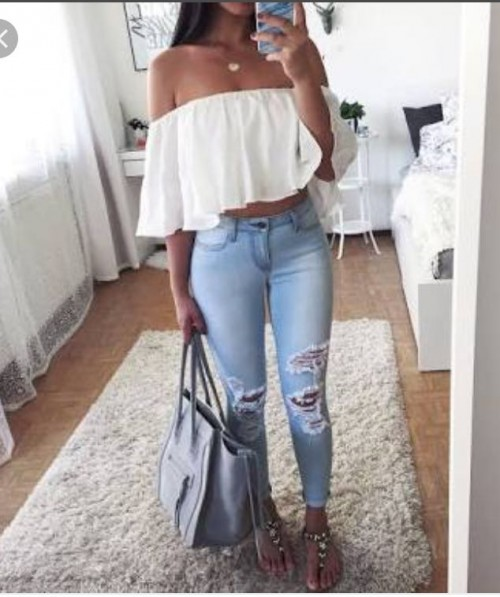 want this white off shouldr top and blue skinny ripped denims from Indian sites - SeenIt