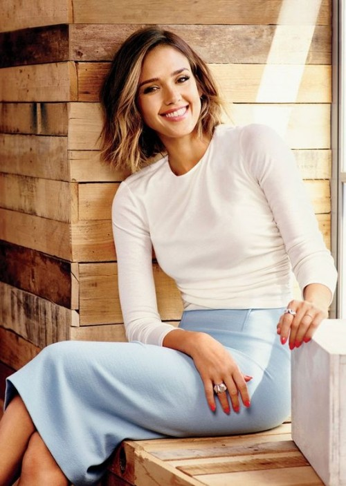 Find me something similar to this pastel blue pencil skirt that Jessica Alba is wearing along with the white full sleeves top. - SeenIt
