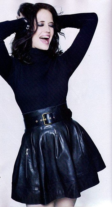 Help me find the black turtle neck top and leather flared skirt that Eva Green is wearing. - SeenIt