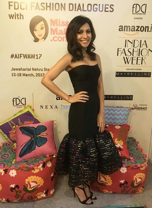 Yay or Nay? Miss Malini wearing an off shoulder black dress during the Amazon fashion week Autumn Winter'17 - SeenIt