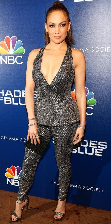 Yay or Nay? Jennifer Lopez in a grey embellished coords..peplum top and pants. - SeenIt