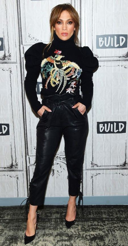 Yay or Nay? Give me your opinion on this black embroidered full sleeves top that Jennifer Lopez is wearing with black leather pants and studded pumps. - SeenIt