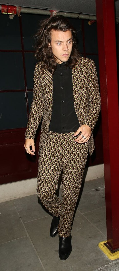 Yay or Nay? Need your opinion on this brown geometric print suit..blazer and trousers that Harry Styles is wearing. - SeenIt