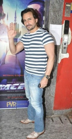 Looking for this casual outfit that Saif Ali Khan is wearing (the blue and white t-shirt and jeans) - SeenIt