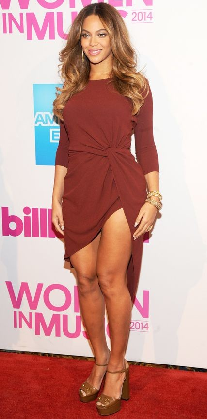Yay or Nay? Beyonce in this maroon wrap dress - SeenIt