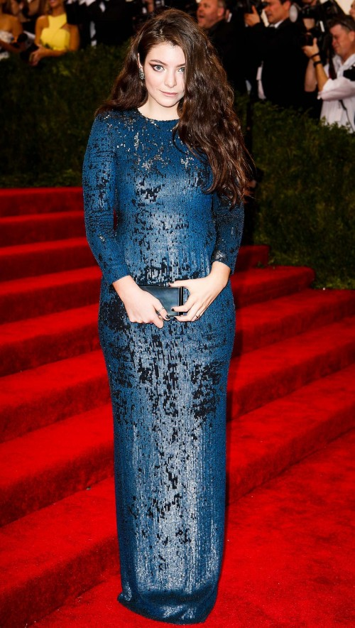 Yay or Nay? Lorde in Calvin Klein teal colour sequin embellished gown. - SeenIt
