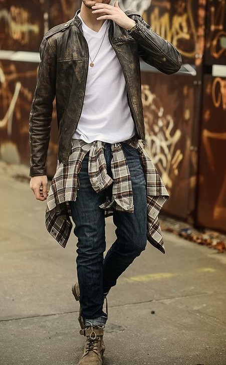 Purchase links similar to this styling is appreciated. Leather jacket, White-tshirt, wrapped shirt, fitjeans, shoes - SeenIt