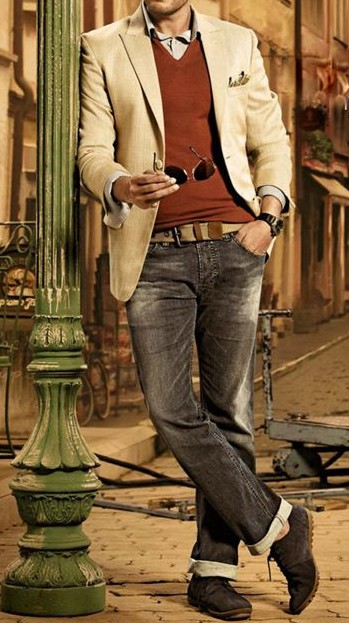 Looking to buy this whole styling. blazer, v neck t shirt, inner shirt, belt, jeans, loafer shoes - SeenIt