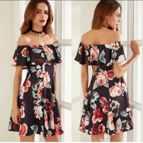 where can i find this printed off shoulder  dress ? - SeenIt