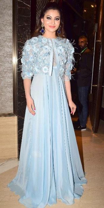 Yay or Nay? Urvashi Rautela wearing an embellished fur jacket gown at the TOISA awards 2017 - SeenIt