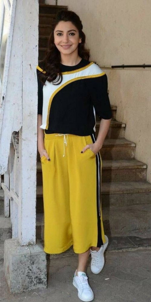 can I find similar yellow culottes like anushka Sharma wore for Phillauri's promotions - SeenIt