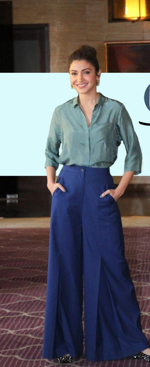 Anushka's blue high waist pallazo pants that she wore to Phillauri's promotions is what I am looking for online - SeenIt