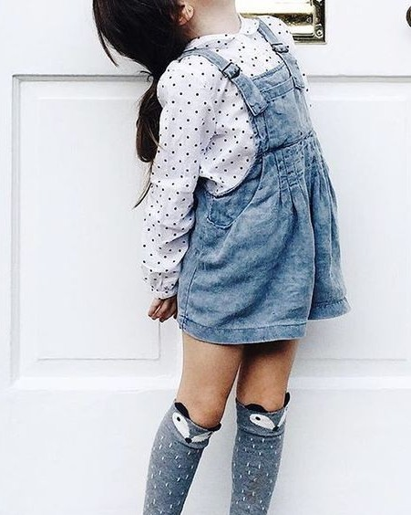 Looking for this white polkadots shirt and blue denim dungaree skirt - SeenIt