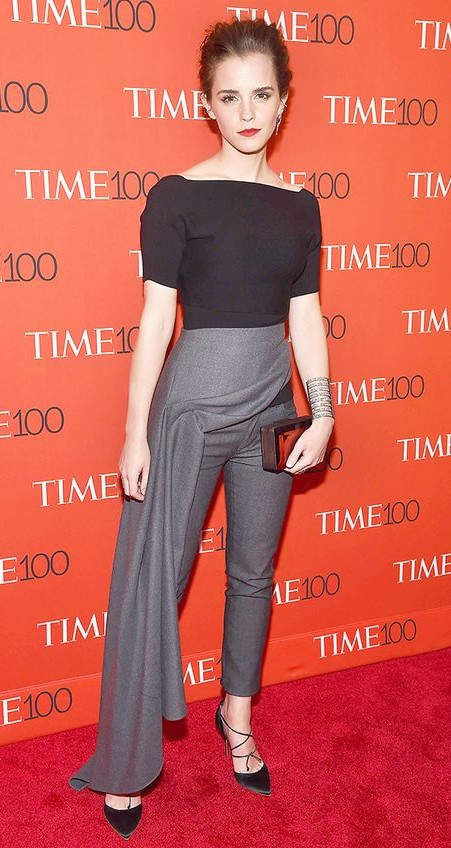 Yay or Nay? This black top and grey trousers that Emma Watson is wearing - SeenIt