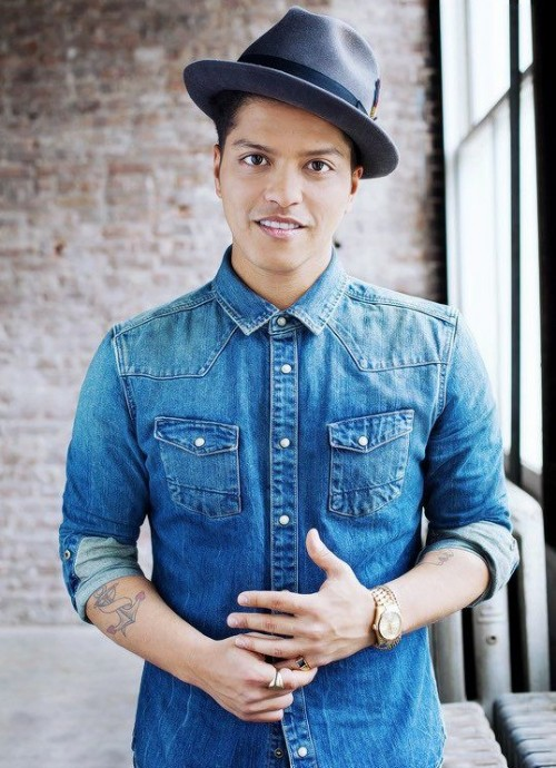 Need a similar blue denim shirt like the one Bruno Mars is wearing. - SeenIt