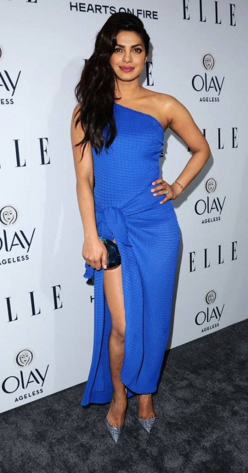 Looking for the blue one-shoulder wrap gown that Priyanka Chopra is wearing - SeenIt