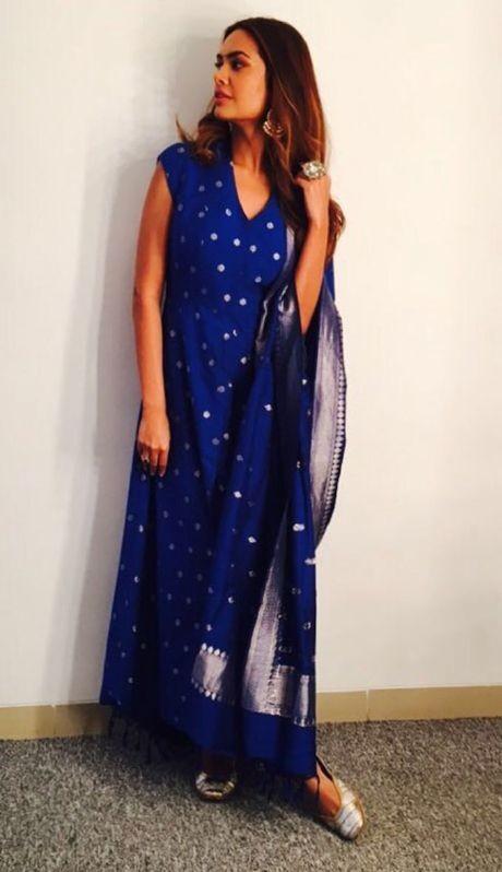 Looking for this blue anarkali that Esha Gupta is wearing - SeenIt