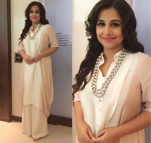 Looking for the silver beaded necklace that Vidya Balan was wearing during the promotion of her movie - SeenIt
