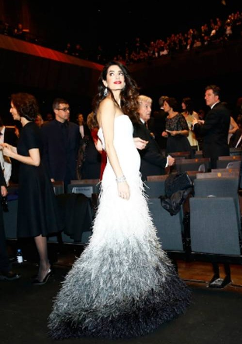 Yay or Nay? Amal Clooney in this white and black evening gown - SeenIt