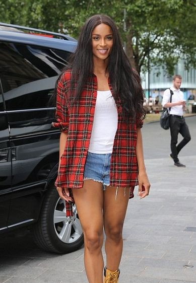 Looking for this red tartan plaid shirt that Ciara is wearing along with the white top and blue denim shorts. - SeenIt