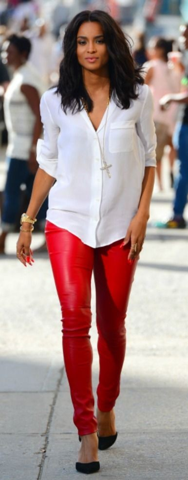 Want the red leather pants that Ciara is wearing and the white shirt and pendant necklace. - SeenIt