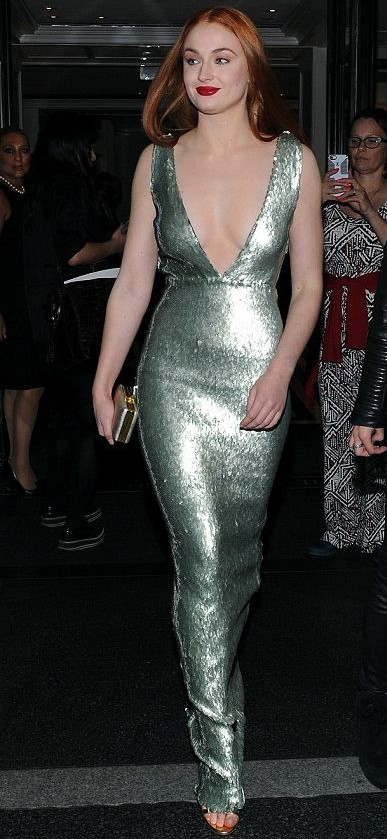 Yay or Nay? Sophie Turner in a silver sequin plunge neck gown. - SeenIt