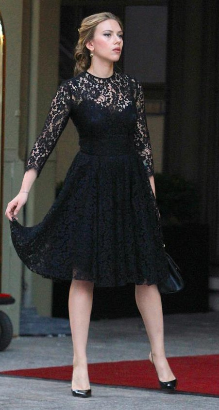 Find me this black lace midi flared dress that Scarlett Johansson is wearing. - SeenIt