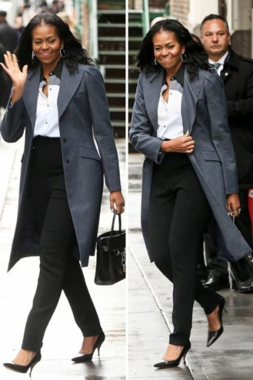 Looking for the white shirt paired with black pants and the grey trench coat along with the black stilettos that Michelle Obama is wearing - SeenIt