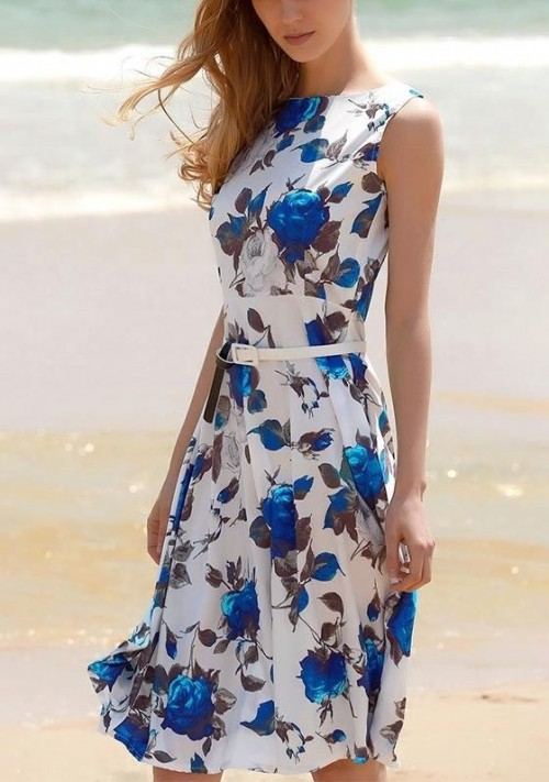 Where can I find this white and blue floral flared sleeveless dress. - SeenIt