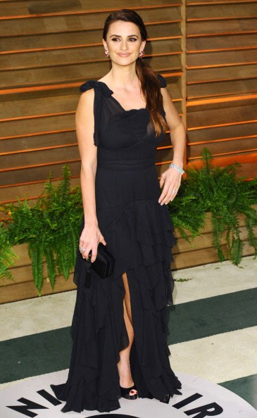 Yay or Nay? Penelope Cruz in a black ruffled slit gown. - SeenIt