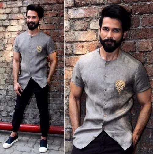 Yay or Nay? Shahid Kapoor in this grey satin shirt with black pants - SeenIt