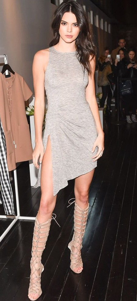 Yay or Nay? Kendall Jenner in this grey wrap slit dress and knee-high gladiator heels - SeenIt